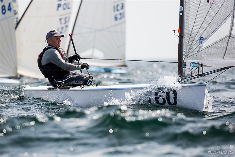 John Heyes on day 2 of the  2019 Finn World Masters in Skovshoved, Denmark - photo © Robert Deaves