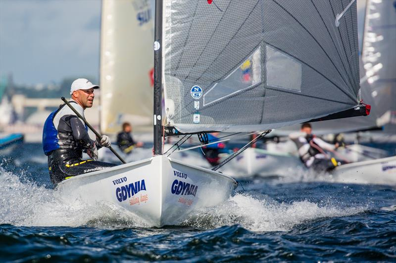 Milan Vujasinovic during the Finn Europeans in Gdynia, Poland photo copyright Robert Deaves taken at  and featuring the Finn class