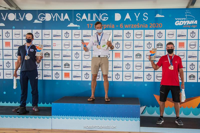 Podium at the Finn Europeans in Gdynia, Poland photo copyright Robert Deaves taken at  and featuring the Finn class
