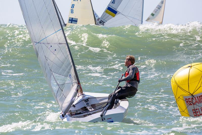 Josh Junior faces mountainous seas - 2018 Finn European Championship at Cádiz, Spain - photo © Robert Deaves