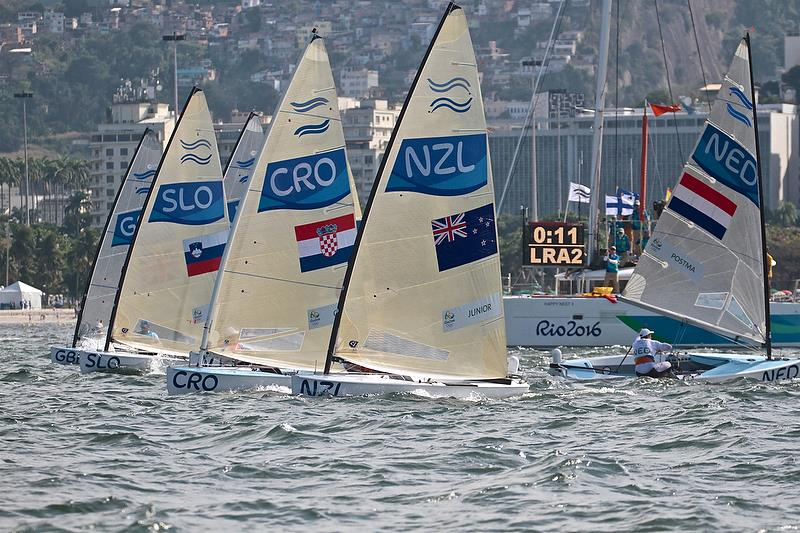 Finn class start in Medal race in Rio - photo © Richard Gladwell