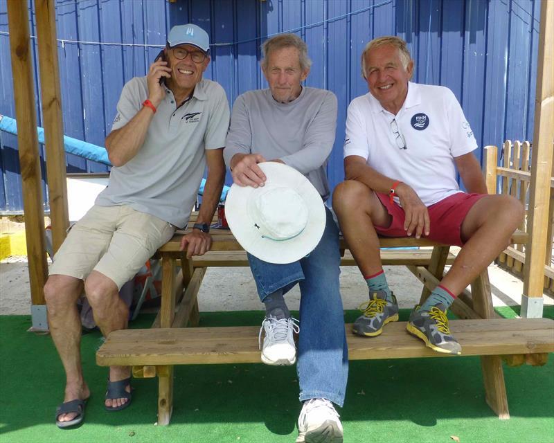 Jose´ Doreste (63), Gus Miller (83) and Gerardo Seeliger (71) Final Day - Finn Masters Worlds - El Balis, May 2018 - photo © Gus Miller's Camera
