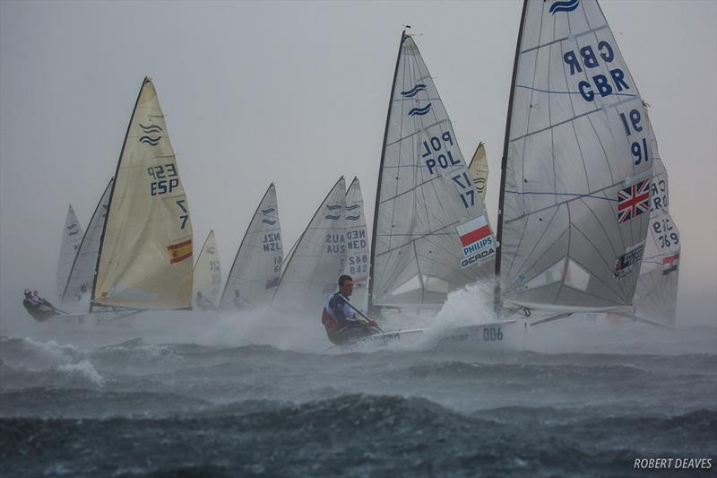Squall hits fleet in Race 10 - 2018 Hempel Sailing World Championships Aarhus photo copyright Robert Deaves taken at  and featuring the Finn class