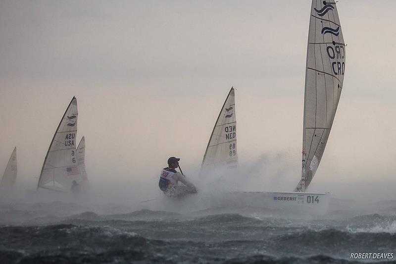 Finn - Race 10 - Day 7 - Hempel Sailing World Championships - Aarhus, Denmark - August 2018 - photo © Robert Deaves / IFA