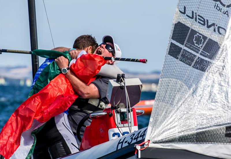 Zsomber Berecz (HUN) - Finn - celebrates Hungary's first ever sailing world championship win - Day 8 - Hempel Sailing World Championships, Aarhus, Denmark - photo © Sailing Energy / World Sailing