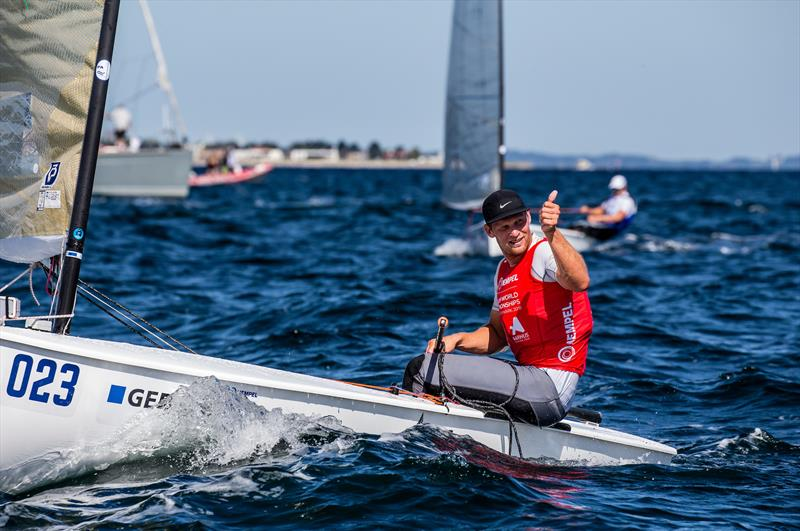 Josh Junior (NZL) masks his disappointment on Day 8 - Hempel Sailing World Championships, Aarhus, Denmark - photo © Sailing Energy / World Sailing