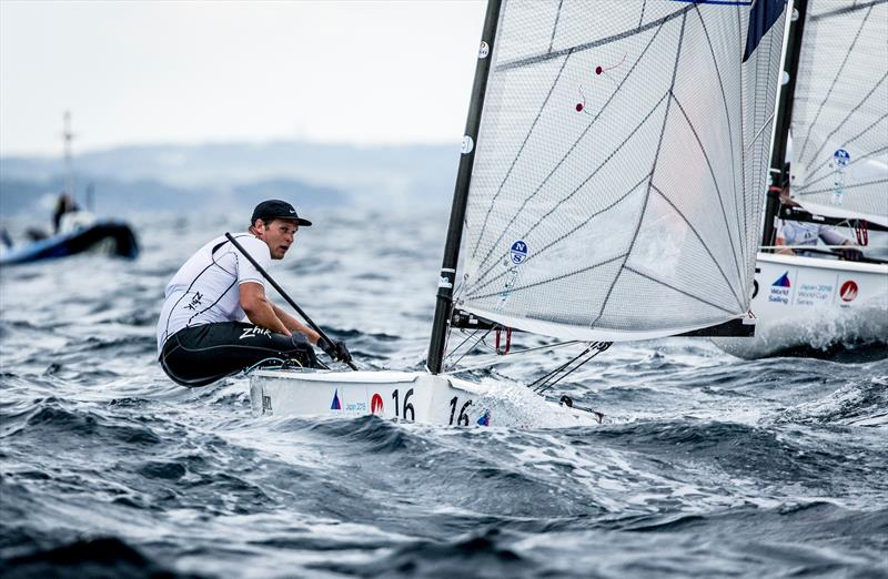 Josh Junior (NZL) sailing in the Finn class on Day 1 of the Sailing World Cup, Enoshima - photo © Sailing Energy