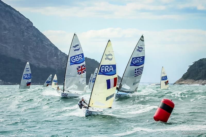 Finn fleet at Rio 2016 Olympic Sailing Competition - photo © Robert Deaves / Finn Class