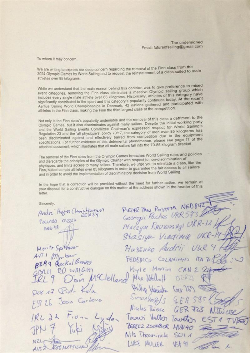An open letter and petition from the sailors at the Finn