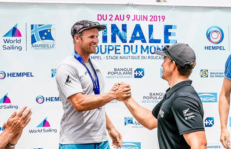 Josh Junior - Gold medalist and Andy Maloney - Silver medalist - Finn class - Hempel Sailing World Cup Final - Marseille - June 2019 - photo © Sailing Energy