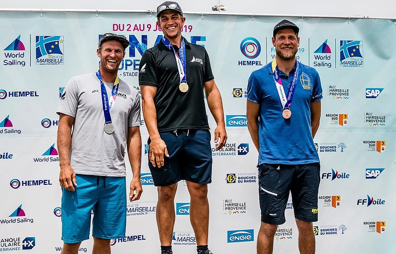 Josh Junior - Gold medalist and Andy Maloney - Silver medalist -  Max Salminen (SWE) - Bronze medalist - Finn class - Hempel Sailing World Cup Final - Marseille - June 2019 - photo © Sailing Energy