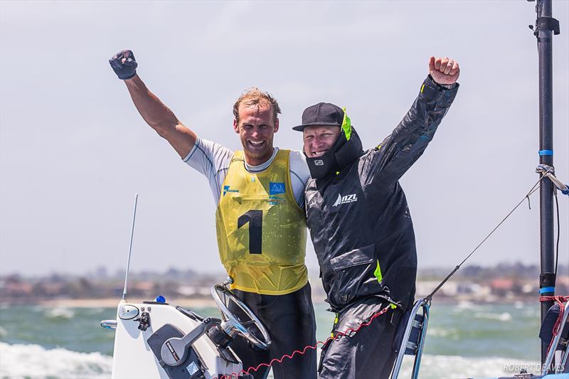 Josh Junior (NZL) and coach Andrew Murdoch - Day 6 - Finn Gold Cup, Melbourne - Royal Brighton Yacht Club, December 21, 2019 - photo © Robert Deaves / Finn Class