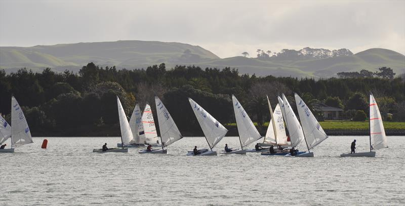 Tight around the bottom mark - Waiuku Finn Masters Regatta photo copyright Gary Morse taken at  and featuring the Finn class