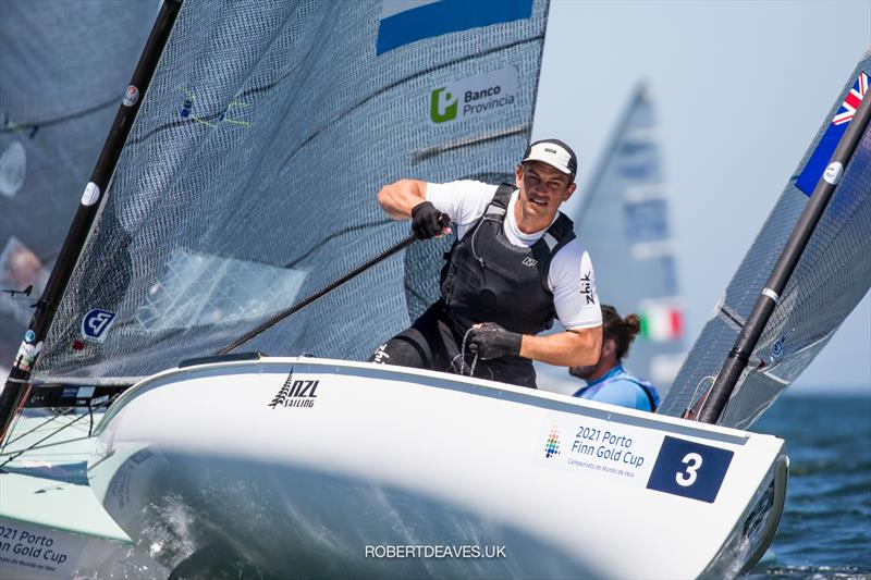 Andy Maloney leads after Day 1 of racing in the 2021 Finn Gold Cup in Porto - photo © Robert Deaves / Finn Class