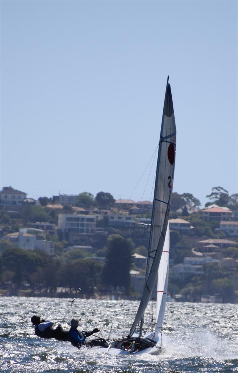 John Heywood & Brett Littledike powering to windward during the APS Homes Fireball Australian Championship photo copyright Andrew Munyard taken at Nedlands Yacht Club and featuring the Fireball class