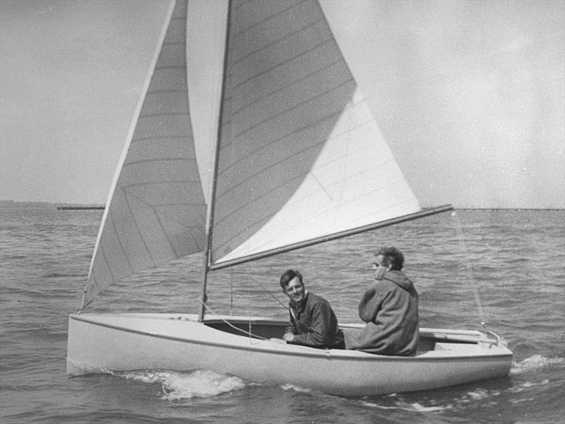 Charles Currey crewing for designer Uffa Fox on the first ever test sail of a Firefly (it didn't last long – the mast fell down)! Charles would spend the winter sailing the boat singlehanded, wearing nothing more nautical than a duffel coat - photo © Henshall