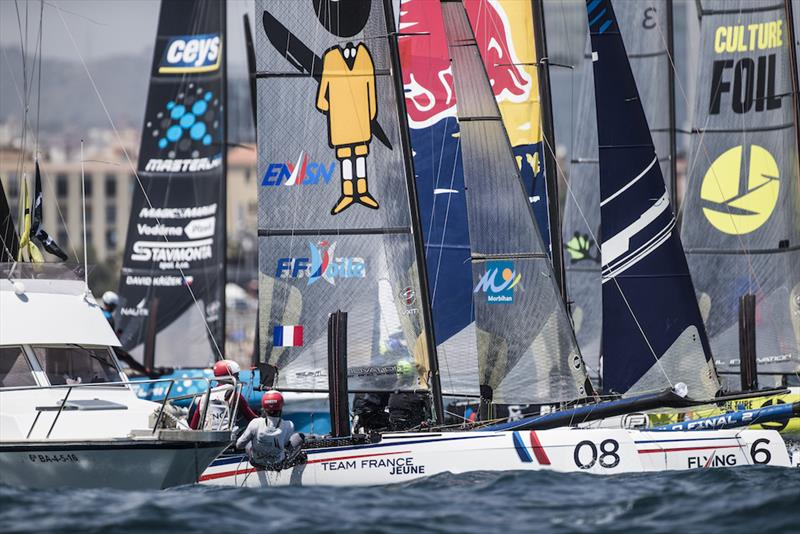 Foiling Phantoms race on day 1 of Extreme Sailing Series Act 3, Barcelona - photo © Lloyd Images