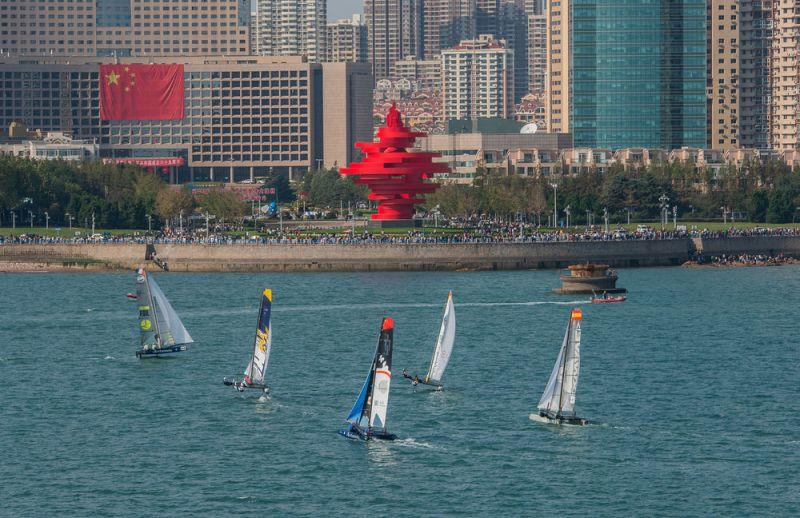 The fleet sailed 10 races against the backdrop of Qingdao's May Fourth Square - Day 3 - Extreme Sailing Series Qingdao Mazarin Cup - photo © Patrick Condy