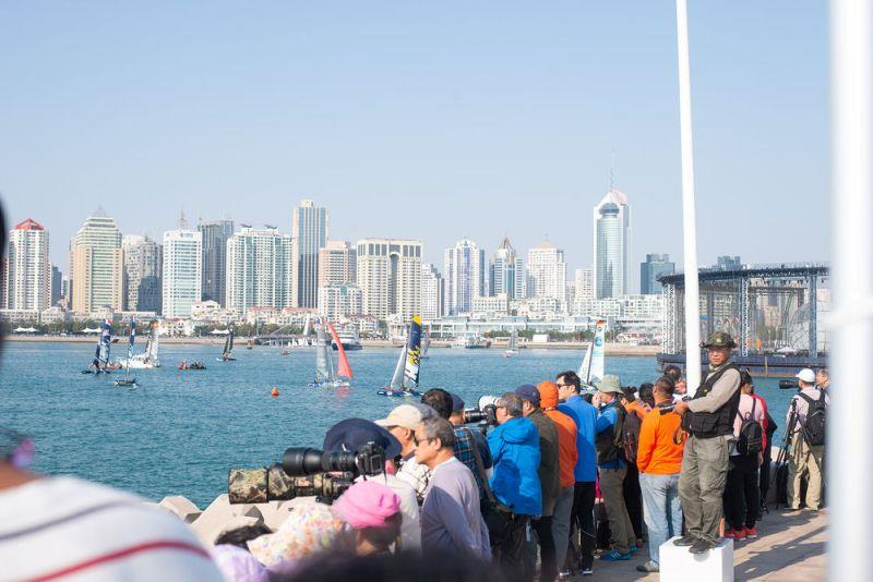 Tens of thousands of spectators watched the foiling action over the four days of racing in Fushan Bay, Qingdao - Day 4 - Extreme Sailing Series Qingdao Mazarin Cup - photo © Patrick Condy
