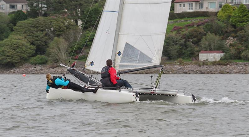 Nicola McColm, butler of the Solway YC virtual stand, at full stretch on Dad Scott's Formula 18 catamaran photo copyright John Sproat taken at Solway Yacht Club and featuring the Formula 18 class