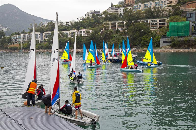 From changeover pontoon to start line... not far. Boase Cohen & Collins Interschool Sailing Festival 2019 - photo © RHKYC / Guy Nowell