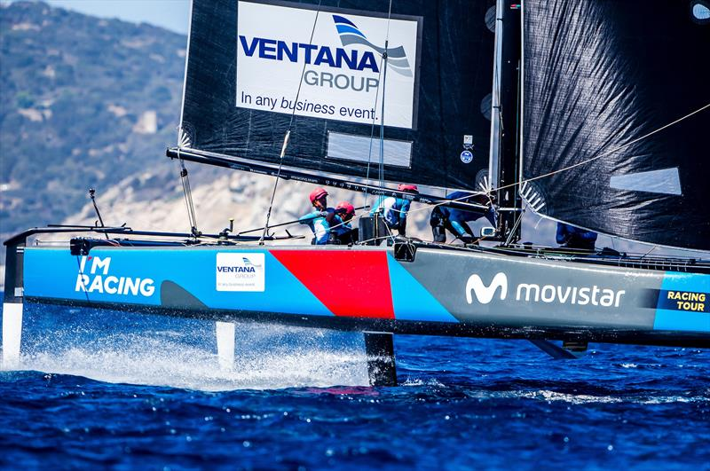 Movistar-Ventana Group, skippered by Iker Martinez on day 2 of the GC32 Villasimius Cup - photo © Jesus Renedo / GC32 Racing Tour