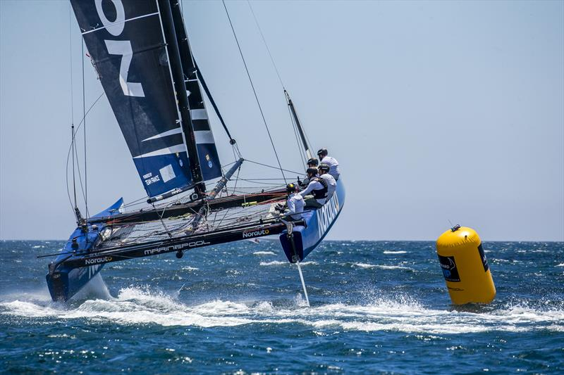 Franck Cammas' NORAUTO powered by Team France scored two more bullets on day 3 of the GC32 Lagos Cup 2018 - photo © Jesus Renedo / GC32 Racing Tour