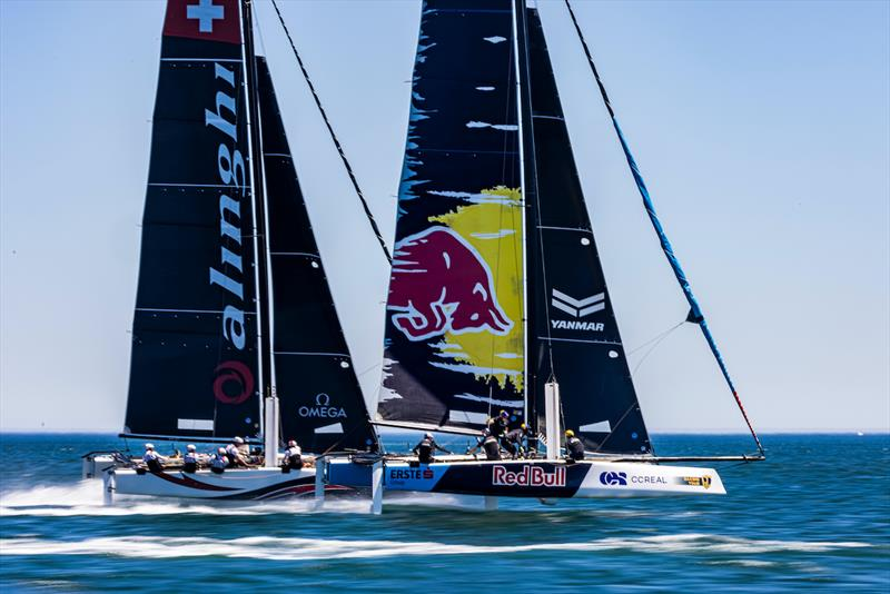 Old rivals Alinghi v Red Bull on day 2 of 2021 GC32 Lagos Cup 1 - photo © Sailing Energy/ GC32 Racing Tour