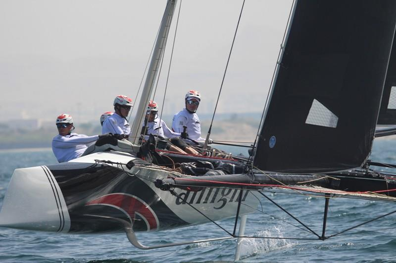 Ernesto Bertarelli at the helm of his Alinghi GC32 photo copyright Alinghi taken at  and featuring the GC32 class