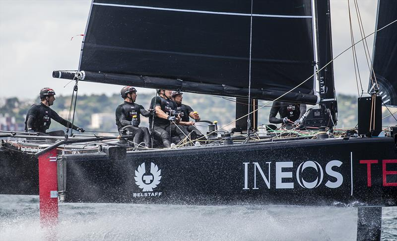 Despite being GC32 newbies, INEOS TEAM UK managed to win today's second race - GC32 Lagos Cup 2018 - photo © Jesus Renedo / GC32 Racing Tour