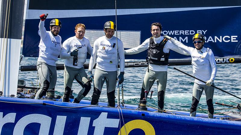 Frank Cammas and his winning NORAUTO crew - 2018 GC32 Lagos Cup, Portugal - Day 4 - photo © Jesus Renedo / GC32 Racing Tour