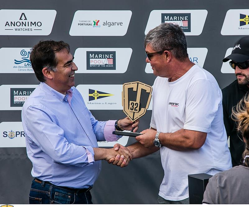 Simon Hull - Frank Racing - receives the Owner Driver prize - GC32 Lagos Cup, Portugal. Day 4. GC32 Racing Tour. 01 July, 2018 - photo © Jesus Renedo / GC32 Racing Tour