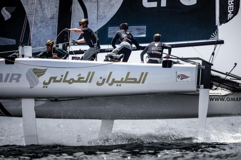 The 'Oman Air' race team shown in action close to the shore, skippered by Phill Robertson (NZL) with team mates Pete Greenhalgh (GBR), Stewart Dodson (NZL), James Wierzbowski (AUS) and Nasser Al Mashari (OMAN) - photo © Sander van der Borch