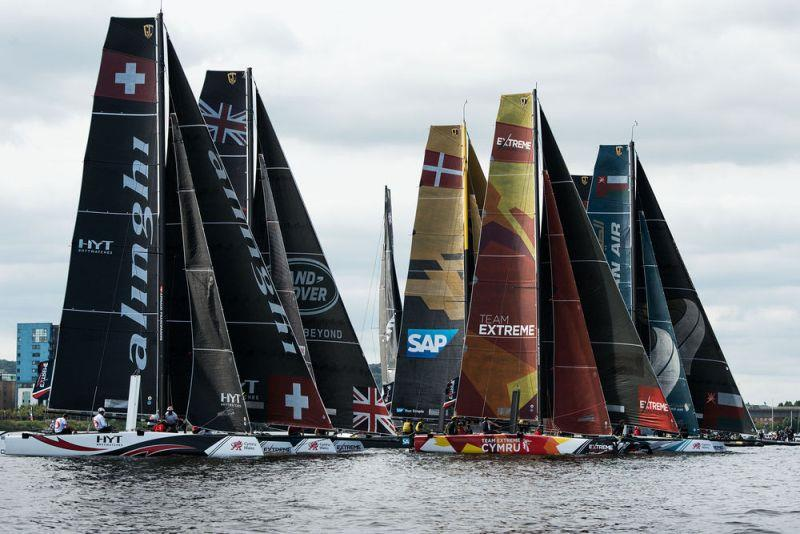 The international fleet of GC32s in action in tight racing meters from fans on the shore line - Extreme Sailing Series - Act 6 - Cardiff - photo © Vincent Curutchet / Lloyd Images