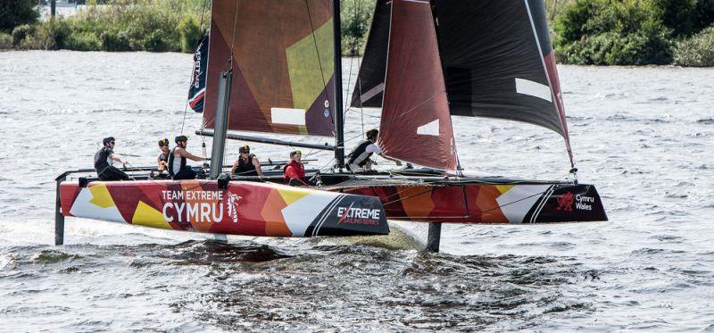 Team Extreme Wales in flight on their home waters in Cardiff Harbour in Extreme Sailing Series 2017 - photo © Jodie Bawden