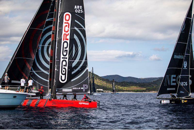 Federico Ferioli's Codigo Rojo Racing leads INEOS Team UK over the line in the final race on day 2 of the GC32 Villasimius Cup photo copyright Sailing Energy / GC32 Racing Tour taken at  and featuring the GC32 class
