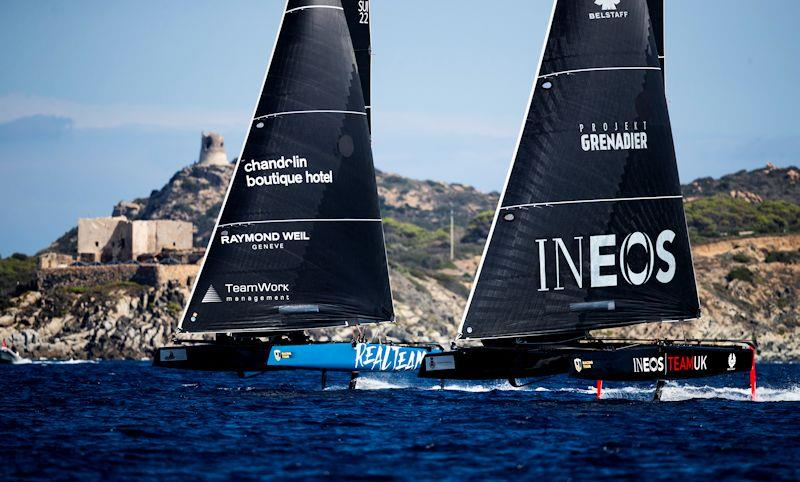 Realteam and INEOS Team UK jockey for position on day 2 of the GC32 Villasimius Cup - photo © Sailing Energy / GC32 Racing Tour