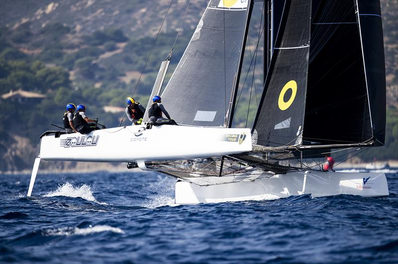 Erik Maris' Zoulou scored two bullet today, pulling her on to the podium and to the top of the owner-driver ranking - GC32 Villasimius Cup. - photo © Sailing Energy / GC32 Racing Tour