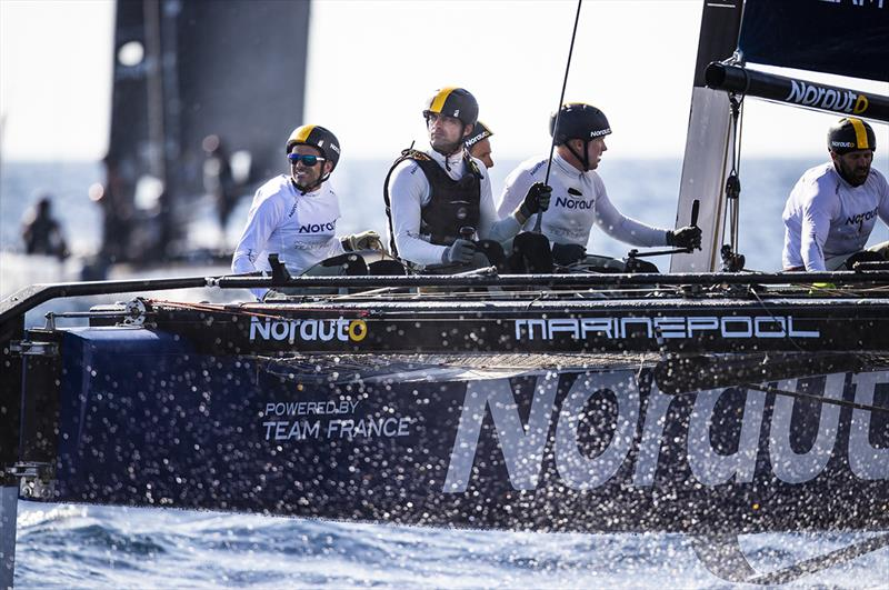 Franck Cammas' NORAUTO powered by Team France holds a four point lead going into the final day of the GC32 Villasimius Cup.  - photo © Sailing Energy / GC32 Racing Tour