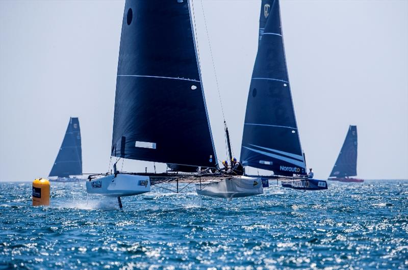 Erik Maris' Zoulou shows the way to NORAUTO - GC32 Lagos Cup, Portugal - photo © Jesus Renedo / GC32 Racing Tour