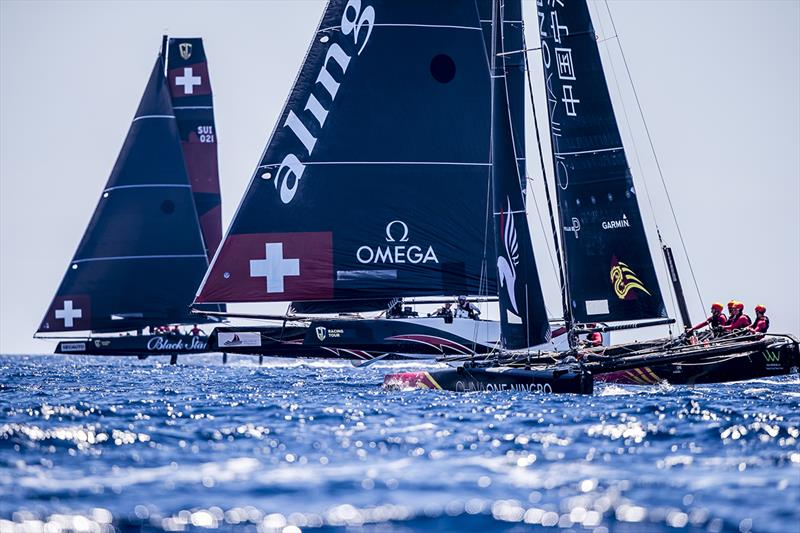 The heat of battle today - Black Star Sailing Team, Alinghi and ChinaONE Ningbo - 2019 GC32 Racing Tour - Villasimius Cup - photo © Jesus Renedo / Sailing Energy