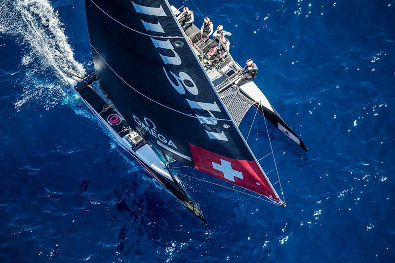 Alinghi was leading the second race on day 1 of the GC32 Villasimius Cup until a massive wind shift caused it to be abandoned photo copyright Sailing Energy / GC32 Racing Tour taken at  and featuring the GC32 class