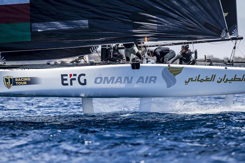 Oman Air, with her new skipper Adam Minoprio, got their first bullet today. - 2019 GC32 Racing Tour - Villasimius Cup - photo © Sailing Energy / GC32 Racing Tour