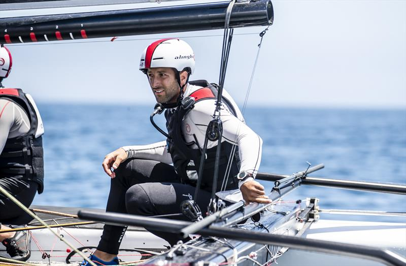 Arnaud Psarofaghis is steering the Alinghi boat in the the GC32 World Championship - photo © Jesus Renedo / Sailing Energy / ISAF