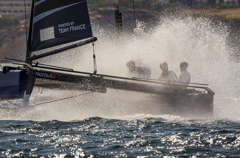 Wet ride for Franck Cammas and the NORAUTO crew on day 2 of the GC32 World Championship at Lagos - photo © Jesus Renedo / Sailing Energy / GC32 Racing Tour