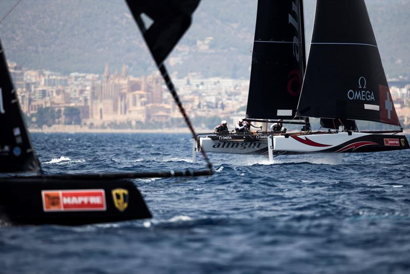 Alinghi claimed today's penultimate race but trails Oman Air by four points at the end of day two. - 38 Copa del Rey MAPFRE photo copyright Sailing Energy / GC32 Racing Tour taken at Real Club Náutico de Palma and featuring the GC32 class
