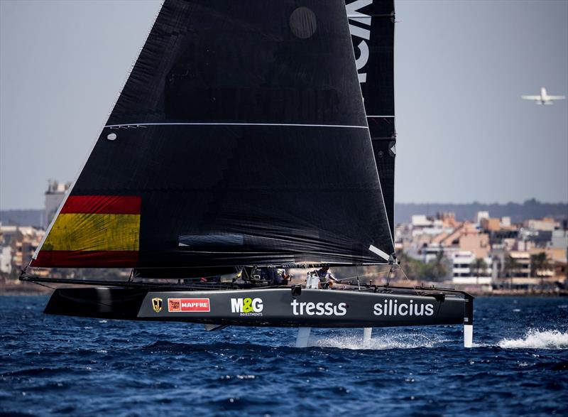 Iker Martinez's M&G Tressis Silicius was back in action today after suffering technical issues yesterday. - photo © Tomas Moya / Sailing Energy / GC32 Racing Tour