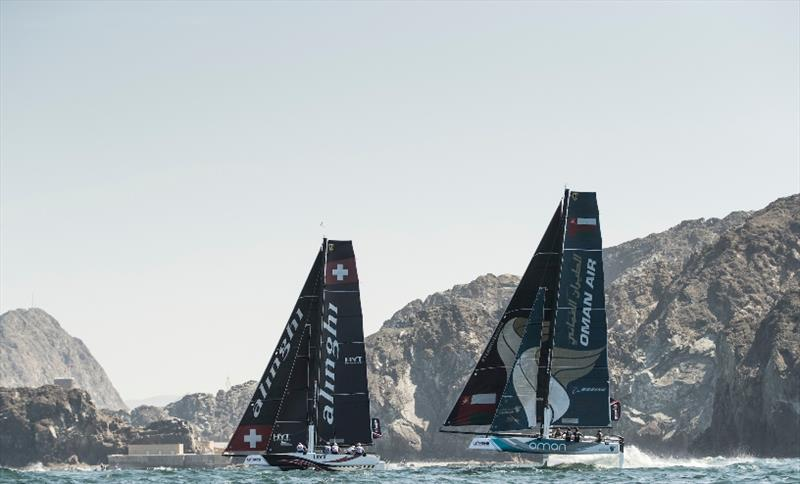 When Oman Air and Alinghi lined up off Muscat last year, the Swiss team won. Can Adam Minoprio and his crew redress the balance this year? - Extreme Sailing Series 2017 - photo © Lloyd Images
