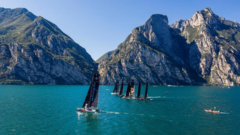 Lake Garda's magnificent backdrop of the Dolomites is always breathtaking. photo copyright Jesus Renedo / Sailing Energy / GC32 Racing Tour taken at  and featuring the GC32 class