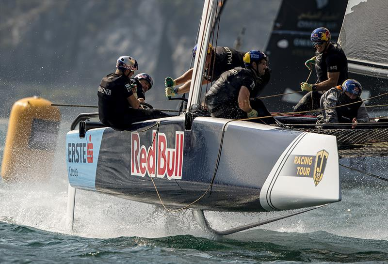 Red Bull Sailing Team mixed things up winning today's fourth race and finishing between Alinghi and Oman Air in the final race - 2019 GC32 Riva Cup photo copyright Sailing Energy / GC32 Racing Tour taken at  and featuring the GC32 class